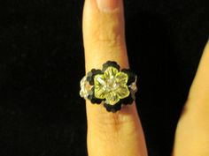 Swarovski Crystal Ring  yellow over opaque black size 657 by jsdd, $10.00