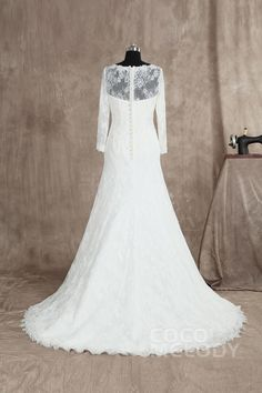 Charming Trumpet-Mermaid Bateau Natural Train Lace Ivory Long Sleeve Wedding Dress with Appliques LD3025 #weddingdress #cocomelody