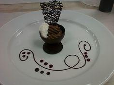 lacy chocolate garnish