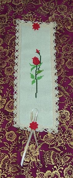 Victorian Lace Red Rose Cross Stitch Book Mark by by loschiquitos, $15.99