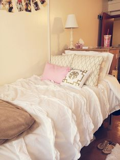 love the light pink and gold, however I would go with a comforter that is not…