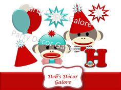 Sock Monkey Birthday Party Decoration Cutouts by DebsDecorGalore, $4.00