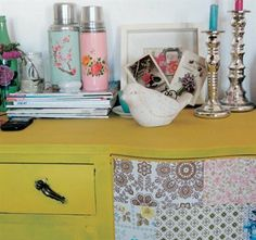 Adorable paper patchwork cabinet and vintage trinkets