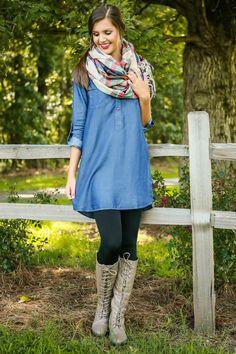 chambray dress + tartan blanket scarf + leggings + boots