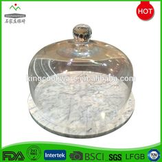 Wholesale New White Marble Cake Cheese Board With Glass Dome Cover