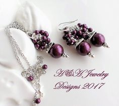 Blackberry Swarovski Crystal Pearl Cluster Necklace and Earrings SET by hhjewelrydesigns on Etsy