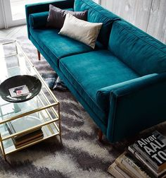 Living Room Decor, Living Room Designs, Living Rooms, Living Room Furniture, Home Furniture, Teal Couch, Blue Couches, Green Sofa, Sectional Couches