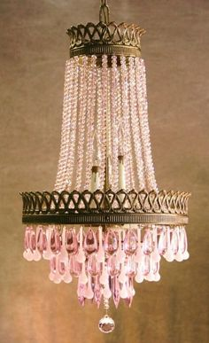 Vintage French Cage Crystal Lustre Chandelier w French Pink Opaline Crystals