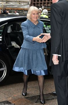 Camilla looked office-ready in a smart herringbone blue skirt-suit and a pair of black heels. The Duchess finished the look with a four-string set of pearls and a snakeskin bag Lady Sarah Chatto, Windsor, Camilla Duchess Of Cornwall, Herringbone Coat, Royal Clothing, Camilla Parker Bowles, Royal Look, Royal Dresses, Herzog
