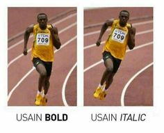 Font comedy. Design. Designers. Typing. Font humour. Funny font joke. Olympic athlete. Usain Bolt.