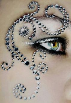 Mardi Gras sparkly glitter silver rhinestone