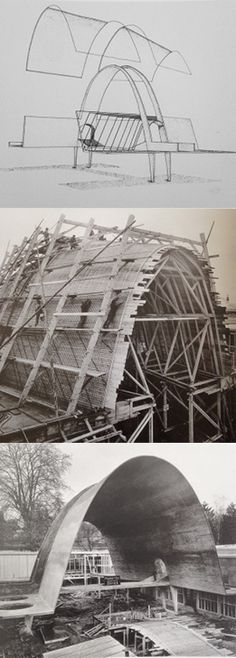 Form work in 3 stages for Robert Maillart's Cement Hall going up, 1939 Zurich