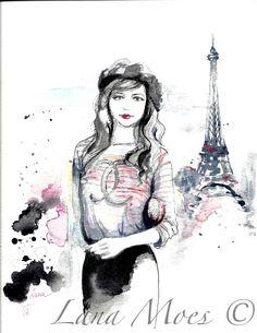 Paris Fashion Love Original Watercolor Illustration by LanasArt