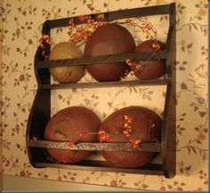 Wooden bowl rack/shelf.  Want one.