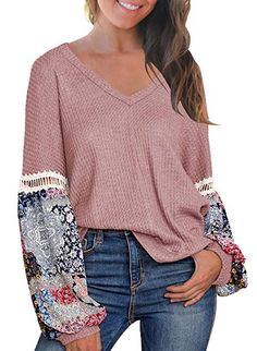 94683570fb MIHOLL Women s Casual Tops Printed Long Sleeve V Neck T Shirts Loose  Pullover Sweater at Amazon Women s Clothing store