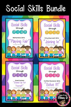 This Social Skills Bundle teaches students how to interact with each other during play. Save 25% by buying these 4 resources together. Includes: Playing Fair Solving Problems Assertiveness Joining In Each contains; 1) Story book 2) Cue cards 3) Teacher notes with lesson goals 4) Awards © Tales From Miss D