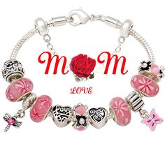 Mother Gift 'A Garden Of Love Grows In A Mother's Heart' Bracelet Pink Flower Bead Charm Best Gift for Mom on Mother's Day, Birthday and Christmas Gift ** You can get more details by clicking on the image.