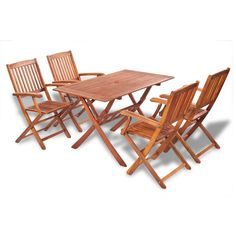 Garden Furniture Set Patio Dining Table Outdoor Wooden Chairs Rectangle Folding