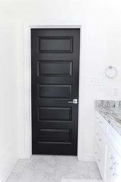 Black interior doors make a bold and dramatic statement in a home against white . , Black interior doors make a bold and dramatic statement in a home against white walls and marble floors. Painted Interior Doors, Black Interior Doors, Door Design Interior, Black Doors, Painted Doors, Wood Doors, Modern Interior, Interior Ideas, Black And White Interior