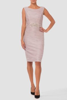 Intricate filaments of material ridge the exterior of this Joseph Ribkoff sheath dress with its sleeveless upper that includes bateau neckline, beaded accent stitched into the midline at the crest of the empire waist and knee-length hem. Joseph Ribkoff Dresses, Bateau Neckline, Dresses For Work, Formal Dresses, Sheath Dress, Fashion Dresses, Beige, Silver, How To Wear