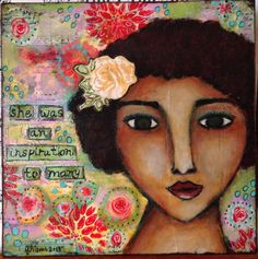 """Inspiring"" mixed media painting on wood block"