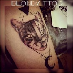 unique Geometric Tattoo - cat  geometric tattoo  realistic half  graphic tattoo  cat tattoo...