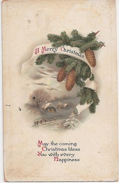 Merry Christmas Snow Scene postmark 1914 #aloetteholiday
