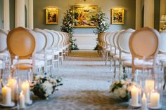 Country House Wedding Ceremony with Blush Flowers and Romantic Candles   By Melissa Beattie Photographer   Grantley Hall Wedding Venue   Classic Wedding   Stately Home Wedding Venue   Country House Wedding Venue   Blush Wedding Flowers   Pink Wedding Flowers   Luxe Wedding Ideas   Romantic Wedding   Aisle and Altar Decor   Wedding Ceremony Decor  