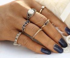 New Bohemia Vintage Leaf Jewelry Unique Carving Tibetan Gold Color Ring Set for Woman 5PCS/Set Punk Boho Ring Sets
