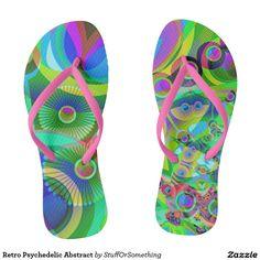 Retro Psychedelic Abstract Flip Flops