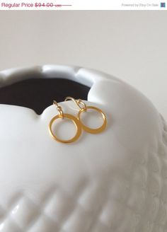 """SALE 25% OFF Gold circle earrings // 14k gold // as seen on """"Homeland"""" // jewelry by LilahV"""