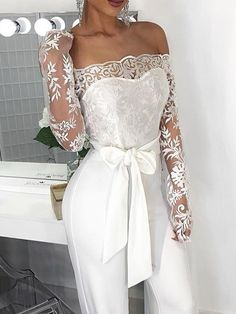 Off Shoulder Belted Lace Bodice Jumpsuit Jumpsuit Dressy, Wedding Jumpsuit, Lace Jumpsuit, White Fashion, Look Fashion, Fashion Outfits, Summer Wedding Outfits, Wedding Dresses, Color Combinations For Clothes