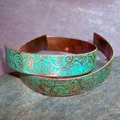 Ancient Patina Copper Cuff Bracelet, $25