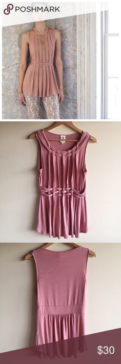 """Anthropologie braided tunic top Gorgeous sleveless tunic by One September in a dusty pink. Woven details. Rayon, spandex, machine washable. Measures 18"""" from underarm to underarm and 29"""" long. Great condition other than some minor pilling at the bottom back. Anthropologie Tops"""