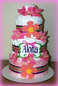 Hawaiian theme diaper cake