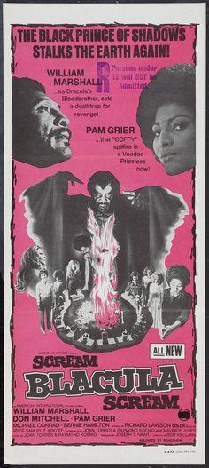 Scream Blacula Scream (1973) Stars: William Marshall, Don Mitchell, Pam Grier, Michael Conrad ~ Director: Bob Kelljan (Australian Poster)