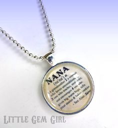 ON SALE Nana Necklace for Mothers Day Dictionary Definition 1 inch Round Glass Pendant with 24 inch Silver Plated Ball Chain on Etsy, $18.00