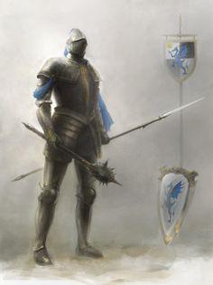 Knight-at-Arms, Sean Bricknell on ArtStation at https://www.artstation.com/artwork/oozdB