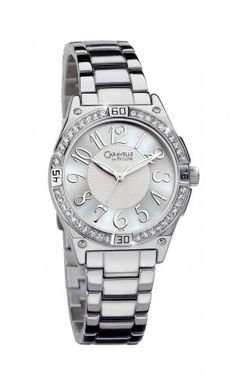 Parker Jewelers. Silver-Tone Bracelet Band Caravelle by Bulova Watch with Crystals around the face. $119.99  (43L113)