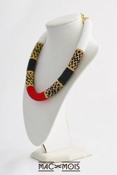 Red gold white black necklace Bead crochet rope Boho jewelry
