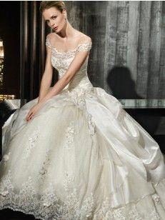 Off the Shoulder A-line/Princess Applique Lace Kapelle-Schleppe Wedding Kleiden