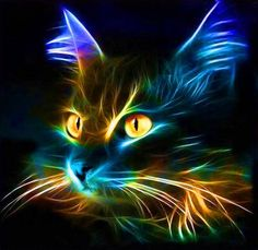 Cats are one of the most numerous pets in the community. The cuteness of the cat and its adorable style make the community choose cats as th. Modern Cross Stitch, Cross Stitch Patterns, Neon Cat, Image Chat, Motifs Animal, Cat Mask, Canvas Prints, Art Prints, Fractal Art