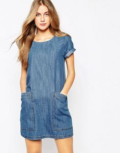 Fashion Solid Color Short Sleeve Round Neck Loose Denim Dress – Daily Posts for Women Denim T Shirt, Denim Tunic, Denim Outfit, Casual Dresses, Casual Outfits, Fashion Dresses, Cute Outfits, Mode Top, Denim Ideas