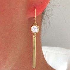 Gold Bar Earrings Gold Earrings Best Friend by AvaHopeDesigns