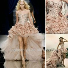 2013 Sweetheart Corset Top Pink Feather zuhair murad wedding dress