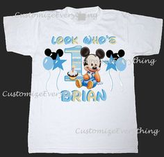 Baby Mickey Mouse Birthday Shirt  All Sizes by CustomizeEverything