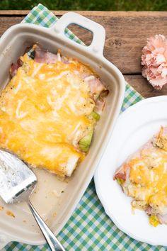 Low Carb Schinken-Lauch-Röllchen mit Käse überbacken