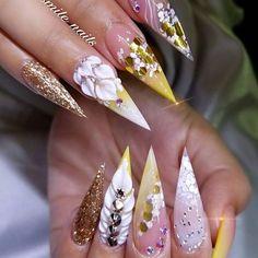 spring nail art that look beautiful. Glam Nails, Hot Nails, Fancy Nails, Bling Nails, Matte Nails, Stiletto Nails, Fabulous Nails, Perfect Nails, Gorgeous Nails