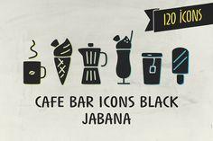 Cafe Bar Icons Black - Jabana by Nils Types on Creative Market
