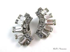 Vintage Clear Rhinestone Silver Tone Baguette & Round Cut Clip On Earrings in Jewelry & Watches, Vintage & Antique Jewelry, Costume | eBay
